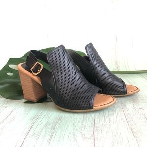BORN perforated leather sling back sandals size 9